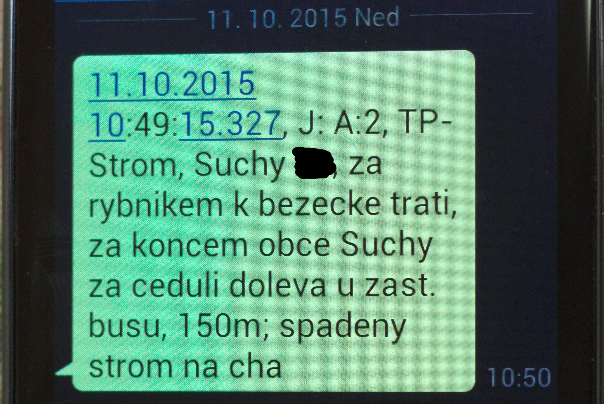 Výjezdová SMS